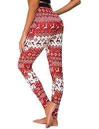 Yvelands Mujer Navidad Feliz Navidad Flaco Estampado elástico Leggings entallados Lápiz Pantalones
