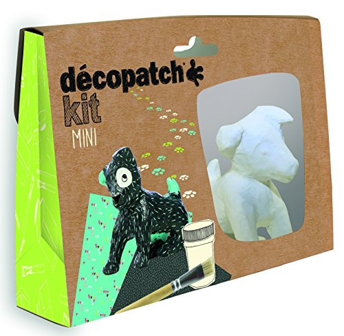 Décopatch KIT017O Bastel Set Pappmaché Hund (ideal für Kinder, 3,5 x 19 x 13,5 cm) grün, schwarz