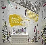 LUCK CAT Architecture Européenne Grande Peinture Murale Fond de Magasin de Beauté Fond d'Écran de Salon de Beauté Tissu-250 * 175cm (98,4 x 68,9 Pouces)