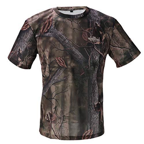 Toygogo Schnelltrocknendes T Shirt Mit Kurzen Ärmeln Atmungsaktives Woodland Camouflage Shirt Für Die Jagd - Tarnen, XL -