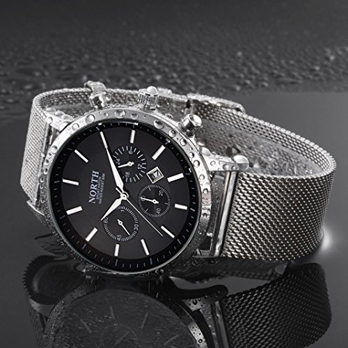 Preisvergleich Produktbild Sansee Kalender Quarz Armbanduhr Edelstahl Armband Herren Uhr-NORTH Männer drittes Grad wasserdichtes Netz mit Quarzuhr N-6009 (Schwarz)