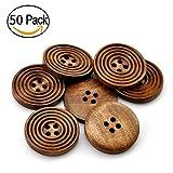 Wskderliner Spirale Holz Knöpfe 25 mm 2 Löcher Nähen Shirt Bluse 50 Stück