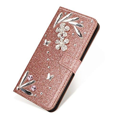 SevenPanda Samsung S6 Edge Flip Brieftasche Hülle, Luxus Bling Diamant Glitter 3D DIY Feather Feder Blume PU Leder Magnetverschluss Folio Stand Hülle für Samsung Galaxy S6 Edge - Roségold