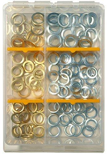 SBS Fitschenringe Sortiment Set - Inhalt 120 Stück - Ø 10mm, 11 mm, 12mm, im praktischem Sortimentskasten