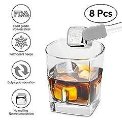 Idea Regalo - Whisky Stones,l'acciaio inossidabile agghiacciante riutilizzabili cubetti di ghiaccio, approvato dalla fda pietre per il raffreddamento del whisky, vodka, birra, vino bianco e più (serie di 8 cubi, silicone punta tong)