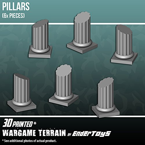 Pillars, Terrain Scenery for Tabletop 28mm Miniatures Wargame, 3D Printed and Paintable, EnderToys (Marine Corp Jersey)