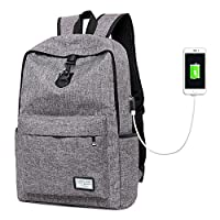 Surenhap Business Laptop Backpack, Anti-Theft Backpack with USB Charging Port for 17 Inch Laptop and Notebook, Laptop bag for Business, Travel, Office, School (Grey)