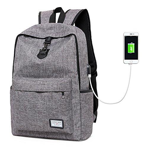 Preisvergleich Produktbild Business Rucksack Surenhap Laptop Rucksack mit USB-Ladeanschluss Anti-Diebstahl Backpack Laptoptasche Schule für College Travel mehrfunktional für Herren und Damen(Grau)