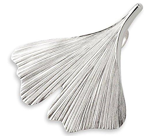 Quality4You Ginkgo-Schmuck: Ginkgo-Blatt-Anhänger mit Silberkette handgemacht aus 925 Silber, Verschiedene Längen (55-62 cm)