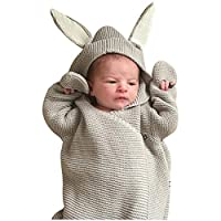 "WYXlink Newborn Infant Baby 3D Rabbit Ear Knitted Swaddle Blanket Sleeping Swaddle Wrap (Length:47cm/18.5"",Bust:64cm/25.2"",Sleeve:25cm/9.8, Gray)"