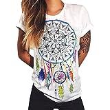 Lisli Damen T-Shirt Oversized Sommer Rundhals Ausschnitt Baggy Boyfriend Stil Lustig Aufdruck Verschiedenen Muster Weiß Basic Streetwear Kurzarmshirt