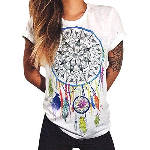 Petalum Damen Shirt Casual Basic Kurzarm Hand Moon Blumen Muster Rundhals Stretch Locker Oberteil Weiß (Blumen-shirt)