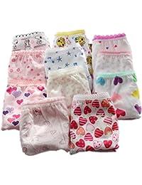 adiasen Little Girls 'Cute Lot de 6culottes sous-vêtements en coton Culotte taille basse Couleur aléatoire