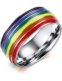 UM Joyería Gay Lesbiana Homosexual Orgullo Acero Inoxidable Arco Iris Anillos Plata Boda Banda 8mm