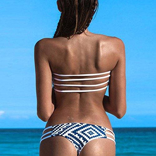 CTHEE Frauen Vintage Hot Gepolstert Badeanzug Bandeau Brasilianische Bikini-Bademode-Summer Beach Blau