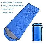 Schlafsack Deckenschlafsack 3-Jahreszeiten - 220 x 75 cm - Extrem dicke Füllung mit 300gsm Ultraleicht mit kleinem Packmaß in Tragtasche