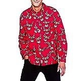 SEWORLD Weihnachten Christmas Herren Männer Weihnachtsmänner Herbst Winter 3D Weihnachten Drucken Langarm Schlank Shirt Top Bluse(Rot,EU-50/CN-L)