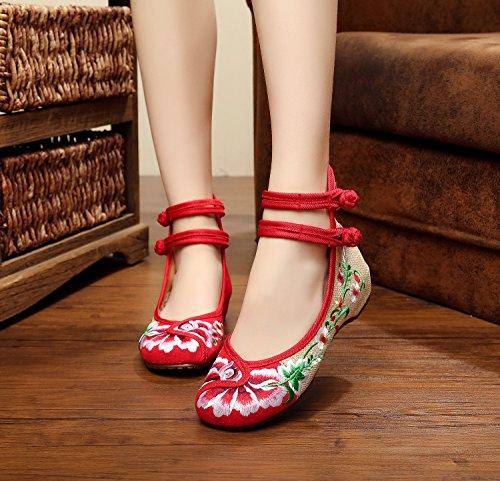 Sapatos amp; Vermelhos Feminina Longa Único Estilo Sapatos Moda Bem Étnico Bordados Dança Convenientes Hua 7Oxw7rq1