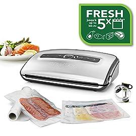 FoodSaver FFS016X Macchina per Sottovuoto Alimenti, 10 Sacchetti Pretagliati, 1 Rotolo da 3 m, Porta Rotolo con…