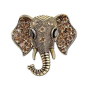 AILUOR Damen Retro Elefant-Brosche, Art Und Weise Kristallrhinestone Tier Elephant Head Ehrennadel Anzug Corsage Accessoires Schmuck