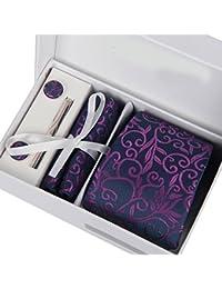Coxeer Hombres 6 en 1 Consejo corbata elegante del clip de la mancuerna pañuelo y pañuelo conjunto de Paisley púrpura