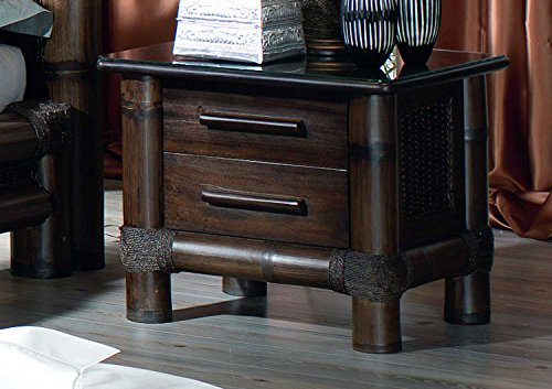 Möbel Bressmer Bambus Nachttisch Kolonial stil Nachtschrank Nachtkonsole TROPICANA Bambusbett