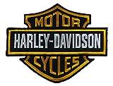 Grande 13cm x 19cm Harley Davidson-arancione e nero-embroidered Biker patch