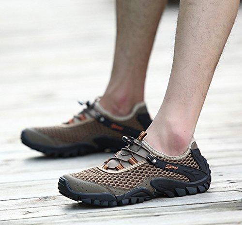 Herren Modische Wanderschuhe Einfach Schnellverschluss Atmungsaktiv Mesh Anti_Rutsche Gummi Sohle Leichte Outdoorschuhe Khaki