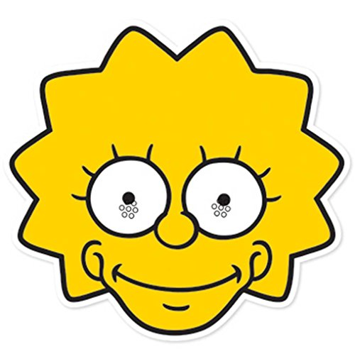 The Simpsons Lisa - Maske Papp Maske, aus hochwertigem Glanzkarton mit Augenlöchern, Gummiband - Grösse ca. 30x20 cm (Lisa Simpson Kostüme)