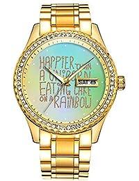Reloj Luminous Luxury Waterproof de Oro con Diamantes de imitación, 195. Happier Than A