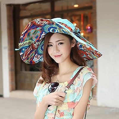 EQLEF® Mujeres parasol del borde grande ancho plegable flojo rueda para arriba para nadar Sombrero de sol