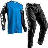 THOR Jersey Anzug Motorradanzug SECTOR MX Hemden e Hose Kombinationen Motocross Quad Off Road Motorradrennanzug Trikot für Herren und Damen (M/32 Hosen, Blau-M)