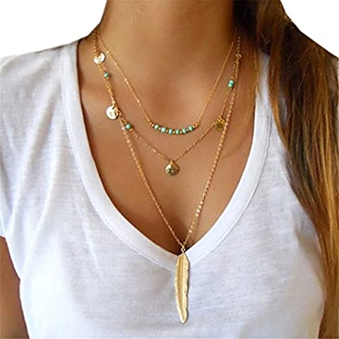 LHWY Multilayer Irregular Pendant Chain Statement Necklace for Women Girls (Gold)