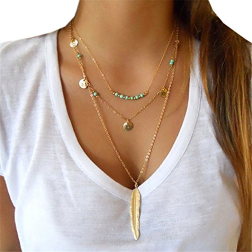 - 51b29kahymL - LHWY Multilayer Irregular Pendant Chain Statement Necklace for Women Girls (Gold)