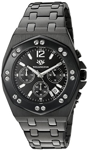 Wellington Darfield Men's Quartz Watch with Black Dial Chronograph Display and Black Stainless Steel Plated Bracelet WN511-622