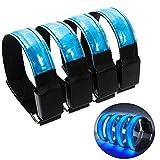 4 Stück LED Armband Licht, KuYoo Reflective Led Armbänder Sicherheitslicht, Jogging Licht für alle Outdoor Sportarten Laufen, Joggen, Hundewandern, Bergsteigen