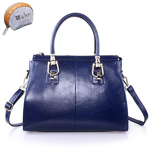 9e1430a229 Blue nuovo modo delle donne Totes del cuoio genuino della borsa spalla  Crossbody Bag