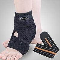 KIROLAK Ankle Support Respirable Tobillo Manga con Ajustable Wraps Ankle Brace Soporte Protector para Corredor de Baloncesto y Alivio del Dolor Esguince - Pie izquierdo
