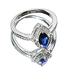 Sahiba Gems Unique Blue And White American Diamond Ring In 925 Sterling Silver Rhodium Finish Ring For Girls/Women
