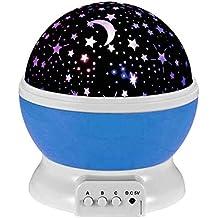 Esonstyle Nueva Generación de 360 Grados de Sol Romántica Noche de la Estrella de la Lámpara de luz de Lámpara Giratoria de Habitaciones para la Noche del Cuarto de Niños Dormitorio para Habitaciones de Niños Niños (Azul)
