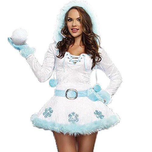 Costour Robe Femmes Filles Style Bonhomme de Neige Robe Manches Longues Sexy avec Capuche et Ceinture Robe des Fête Noël Blanc