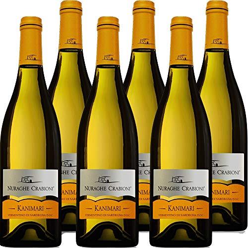 Vermentino di Sardegna | Nuraghe Crabioni Kanimari | Confezione da 6 Bottiglie da 75 Cl | Vino Bianco delle Sardegna | Idea Regalo
