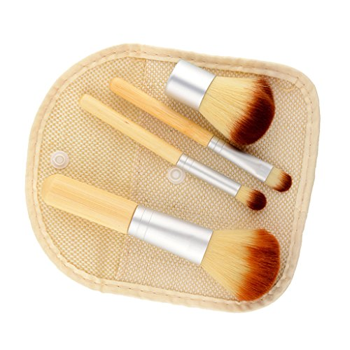 Generic 4X Natural Bamboo Handle Brush Set Foundation Powder Kabuki Kit