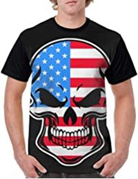 Gorgeous Socks Mens Short Sleeve Crew-Neck Tshirts American Flag1 Skull-1 Baselayer t