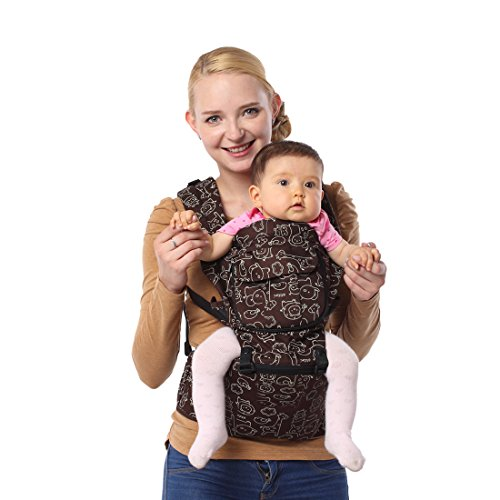 ECOSUSI 100% Cotton Cute Design Hip Seat Baby Carrier Front and Back Carrier with Waist Stool Coffee