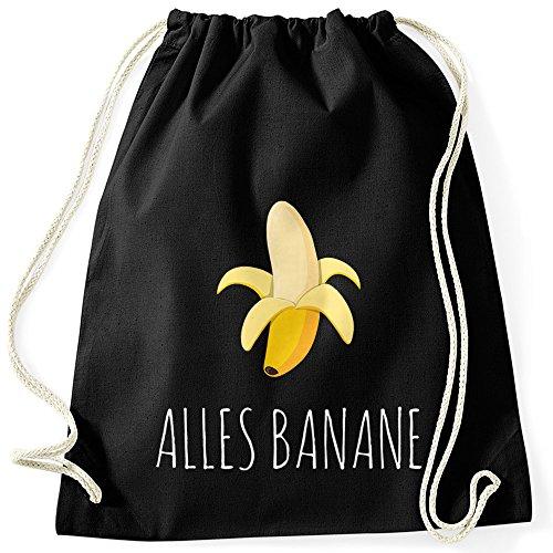 MoonWorks Cooler Turnbeutel Banana Banane Hipster Cool Sportbeutel schwarz Unisize