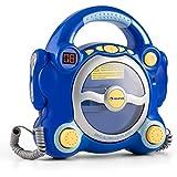 Auna Pocket Rocker sistema karaoke SING-A-LONG per bambini con lettore CD (altoparlanti casse integrate, 2 microfoni con volumi separati, funzione program e repeat) blu