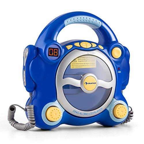 auna Pocket Rocker • Karaoke para niños • Set de Karaoke • 2 x micrófonos dinámicos • Reproductor de CD • Altavoces estéreo • programable • Salida de Auriculares de 3.5mm • asa de Transporte • Azul