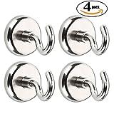 Alumuk Magnethaken, Magnetischer Haken, Super Starker Neodymium Magnet Haken, Durchmesser 36mm, Haftkraft 41.0 Kilogramm für Wand küche Badzimmer, 4er Set