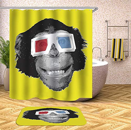 Kwboo Tragende Sonnenbrille des Affen Auf Einem Gelben Hintergrund. Duschvorhang. Wasserdicht. Einfach Zu Säubern. 180X180Cm. Teppich. Plus Samt. rutschfest. 40X60Cm.